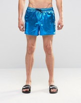 Asos Swim Shorts In Metallic Teal Short Length