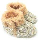 Skidders Girls' Sweater Knit Booties in Gold/Ivory
