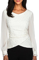 Alex Evenings Illusion Long Sleeve Blouse
