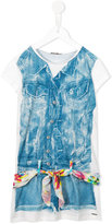 Junior Gaultier denim playsuit print T-shirt dress - kids - Polyester/Spandex/Elastane - 8 yrs