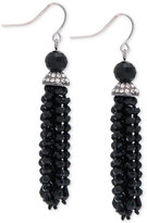 Lauren Ralph Lauren Hematite-Tone Hide and Chic Beaded Tassel Earrings