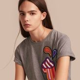 Burberry Appliquéd Weather Motif Cotton T-shirt