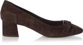 Bottega Veneta Intrecciato suede low block-heel pumps