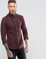 Asos Skinny Check Shirt In Burgundy With Long Sleeves