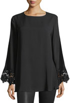 Neiman Marcus Lace-Cuff Tunic Top