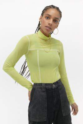 Urban Outfitters Seamed Mesh Funnel Neck Top - green M at