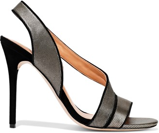 Halston Cora Suede-trimmed Metallic Leather Sandals