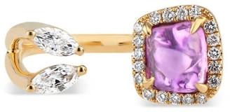 Ri Noor Toi Moi Purple Pink Sapphire & Marquise Diamond Ring