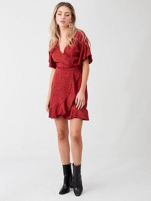 AX Paris Spotty Printed Wrap Dress - Red