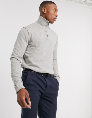 Jack and Jones quarter zip knitted sweater in gray