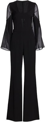 Akris Deep V-Neck Silk Crepe Jumpsuit