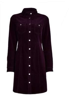 Dorothy Perkins Womens Purple Corduroy Shirt Dress, Purple
