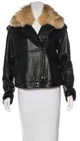 Vince Fur-Trimmed Leather Jacket