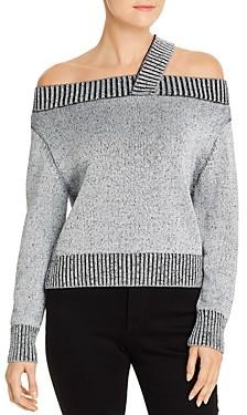 Elan International Metallic Open-Shoulder Sweater