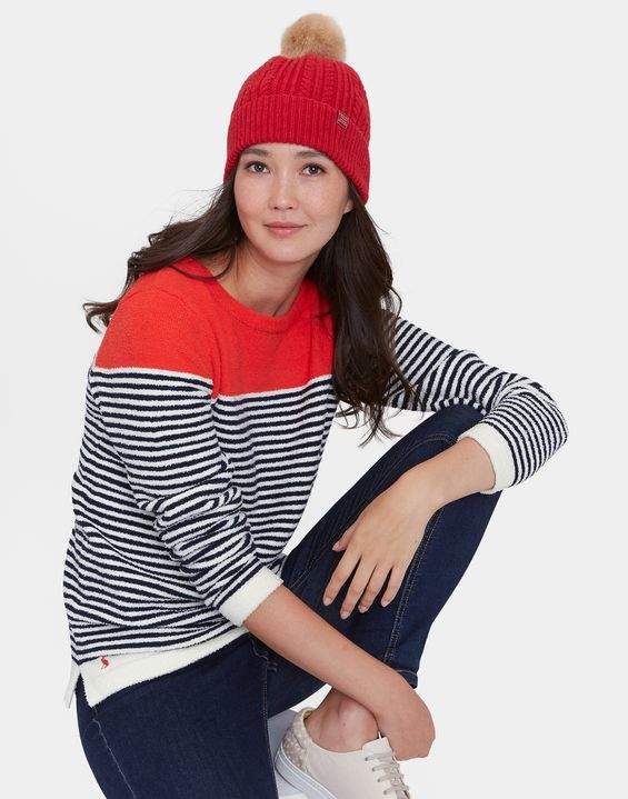 Joules Red Bobble Cable Knit Hat Size One Size