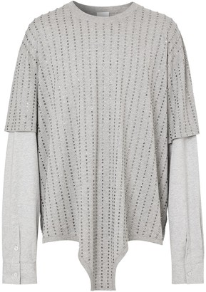 Burberry crystal-embellished layered T-shirt