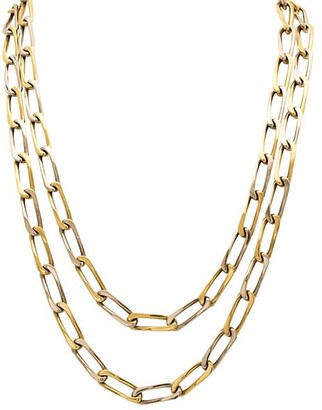 Stephanie Windsor Vintage 18K Yellow & White Gold Chunky Oval-Link Long Necklace