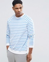 Asos Loungewear Stripe Sweatshirt In Velour