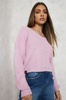 boohoo Cropped Fisherman V Neck Jumper