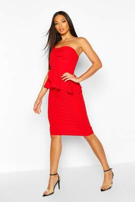 boohoo One Shoulder Pleated Peplum Bodycon Midi Dress