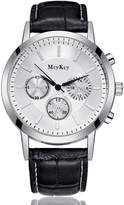 Mn's Buckl Dat Wrist Watchs Clndi McyKcy Military Lathr Watrproof Quartz Analog Army