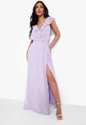 boohoo Frill Wrap Detail Chiffon Maxi Dress