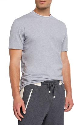 Brunello Cucinelli Men's Two-Tone Trim Crewneck T-Shirt