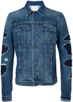 Helmut Lang patchwork sleeve denim jacket - men - Cotton - L