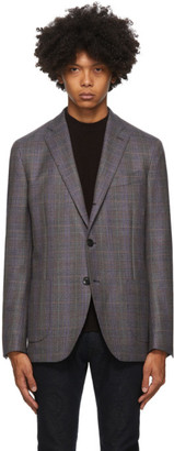 Etro Grey Check Wool Blazer