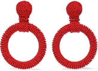 Kenneth Jay Lane Beaded Hoop Clip Earrings