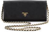 Prada Saffiano Wallet-on-Chain, Black (Nero)