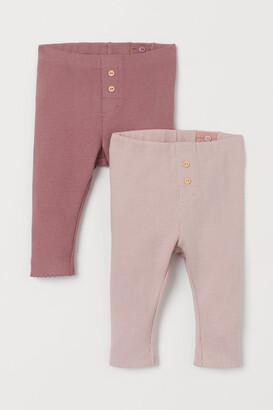 H&M 2-pack Ribbed Leggings - Pink