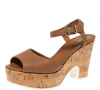 Fendi Brown Leather Cork Wedge Platform Ankle Strap Sandals Size 37.5