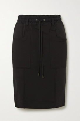 Tom Ford Paneled Jersey, Twill And Pique Skirt - Black