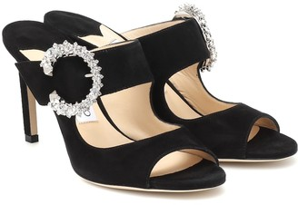 Jimmy Choo Saf 85 crystal-embellished suede sandals