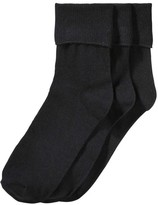 Joe Fresh Women's 3 Pack Cuffed Socks, Black (Size 9-11)