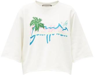 Gucci Glitter Hawaii-print Cotton-jersey Sweatshirt - White Print