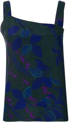 Versace Pre Owned Diagonal Cut Floral Top