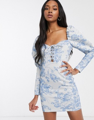ASOS DESIGN foil floral printed lace up puff sleeve bodycon mini dress