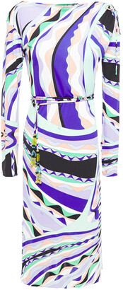 Emilio Pucci Belted Printed Stretch-jersey Midi Dress