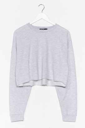 Nasty Gal Womens Crop of Your Game Relaxed Sweatshirt - Grey Marl