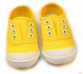 PPXID Boy's Girl's Canvas Slip-on Solid Color Loafers Plimsolls Casual Shoes- 2 US size Little Kid