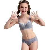 MANJIAMEI Puberty Girls Lace Dot Cotton Underwear Set For Teenage Girls