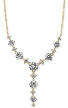 "Eliot Danori Gold-Tone Cubic Zirconia Lariat Necklace, 16"" + 1"" extender, Created for Macy's"