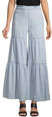 Free People Tiered Chambray Wide-Leg Pants