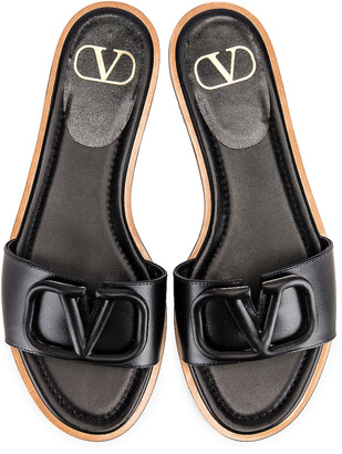 Valentino Vlogo Slides in Black | FWRD