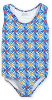 Milly Minis Mosaic Racerback One-Piece Swimsuit, Blue, Size 4-7