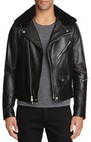 Rag & Bone Buzz Shearling Collar Leather Moto Jacket