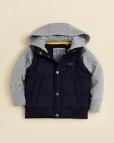 GUESS Boys' Grey Fleece Hoodie with Navy Bubble Vest - Sizes 2-7