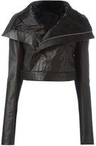 Rick Owens cropped biker jacket - women - Calf Leather/Cupro/Virgin Wool - 40